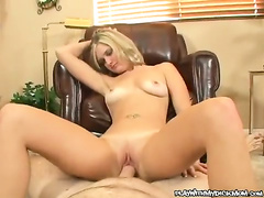 Naked blonde Katie May slut riding on this guys stiff cock