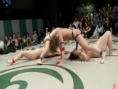 Amazing lesbian wrestling show turns into savage strapon sex wit