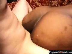 Preggo ebony gets a full cumhoze