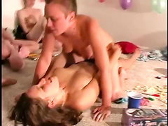 Real amateur lesbian teens fuck with a strapon at reality sexpar