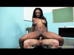Student Persia Black rides the teachers big dick in his office