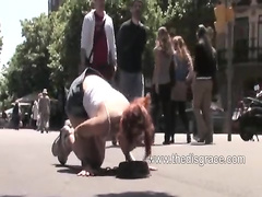 Redhead tiedup and fucked on the streets