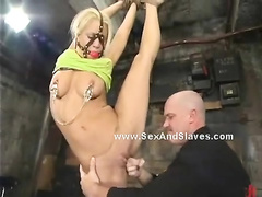 Blonde with face bondage cage and hanged in ropes tastes cock sw
