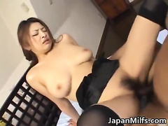 Alice Hoshi is a sexy Asian MILF getting her hairy pussy slammed