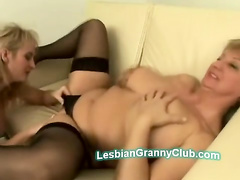 Stockings granny gets her nasty twat fingered by blonde busty MI