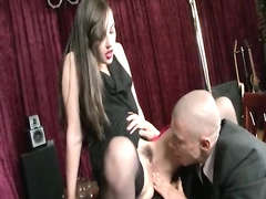 Brunette chick fucked by bald faggot
