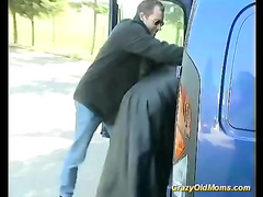 Crazy old mom sucking and fucking in back of a van