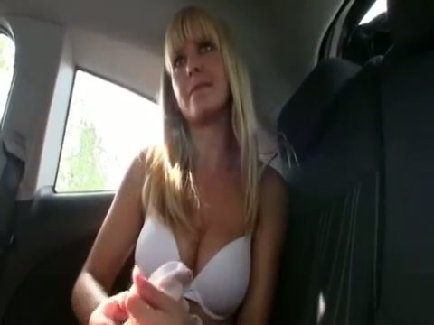 Blonde girl tits backseat