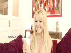 Cute blonde is teached how to use toys before getting hard lesso