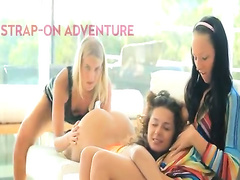 Three hot teen lesbians have a strapon adventure