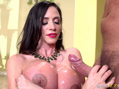Latina milf Ariella Ferrera takes cumshot all over her big tits