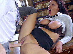 Naughty english student Emma Leigh fucked in Principal's office