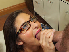 Hot student Nina North gets facialized by her teacher
