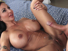 Jewels Jade is very happy with huge cumshot load all over her body