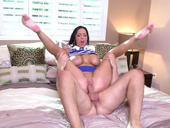 Lovely Veronica Rayne spreads her legs wide and fucked hard