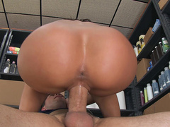 Hairdresser Rachel Starr fucks her clients husband in the stock room