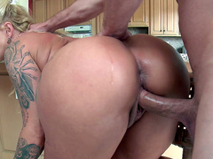 Big ass step mother Ryan Conner fucked doggy style in the kitchen