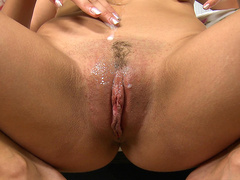 Cum drooling blonde Christen Courtney lets the cum flow down to her pussy