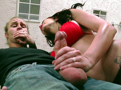 Step mother Monique Alexander jerks off the gardener while spying on her step daughter masturbate