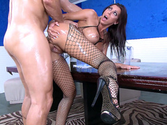Oiled up Rachel Starr fucked hard bent over table in fishnet body suit