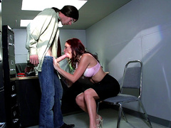 Red head milf Monique Alexander devours huge shlong in the office