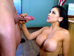 Sexy big tits Profesor Audrey Bitoni takes a big load from a students huge cock