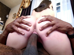 Juicy ass Lola Foxx takes a rides on a big black stallion