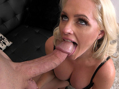 Blonde milf Alena Croft gets fed a huge hard cock