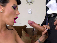 Fugitive Rachel Starr sucking the big cock of the law