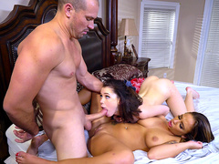 Hardcore threesome with Layla London and Raylin Ann