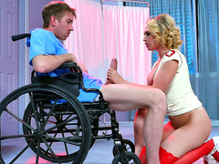 Super nurse Kagney Linn Karter handles massive cock of wheelchair patient