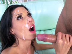 Latina milf Alexa Tomas gets face covered in cum