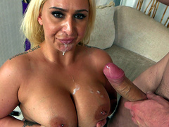 BBW Nina Kayy takes that load on her face and huge tits