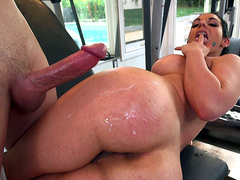 Big ass Bella Reese takes Jessy big cock load all over her butt cheek