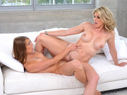Kirsten Lee rubs clits with her stepmom Cory Chase