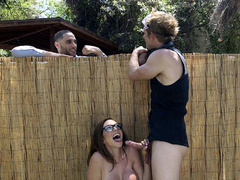 Frisky milf Ariella Ferrera decides to blow the gardener