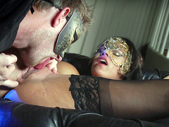 Peta Jensen getting her pussy licked at a masquerade party