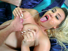 Hot blonde Assh Lee takes huge cumshots to her face