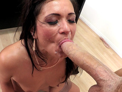 Horny teacher Cece Stone gets her face covered in cum by a student