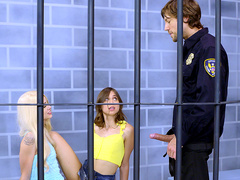 Jailbirds Elsa Jean and Riley Reid suck the officers hard cock