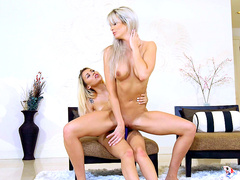 Horny lesbian milf Brooke Paige rides on Marsha May's strapon
