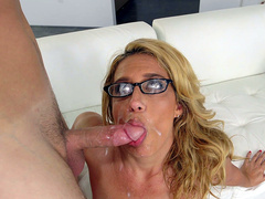 Milf Stevie Lix licks up every last drop of cum