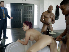 Cheating wife Monique Alexander caught fucking two big black cocks