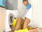 Brittney White gets fucked with her head in the washing machine