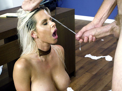 Busty blonde Rachel RoXXX takes major facial cumshots