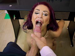 Monique Alexander has her face decorated with hot cum