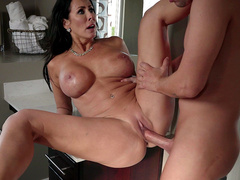 Horny milf stepmom Reagan Foxx spreads her legs wide for hard young cock