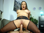 Business woman Mea Melone rides a huge cock in the office