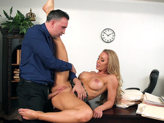 Busty blonde office slut Nicole Aniston fucked on the desk
