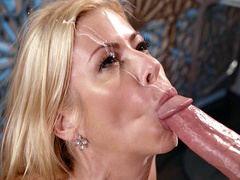 Milf mom Alexis Fawx gets her face blasted with cum